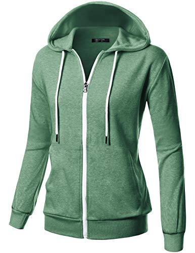 GIVON Womens Comfortable Long Sleeve Lightweight Zip-up Hoodie with Kanga Pocket/DCF200-JADEGREEN-2XL