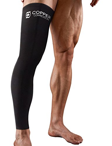Copper Compression Full Leg Sleeve - Guaranteed Highest Copper Sleeves & Pants. Single Leg Pant. Tights Fit for Men and Women. Copper Knee Brace Thigh and Calf Support Socks. Basketball, Arthritis