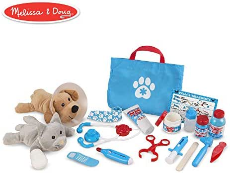 Melissa & Doug Examine & Treat Pet Vet Play Set (Animal & People Play Sets, Helps Children Develop Empathy, 24 Pieces, 10.5
