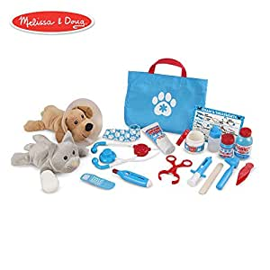 Melissa & Doug Examine & Treat Pet Vet Play Set (Animal & People Play Sets,  Helps Children Develop Empathy, 24 Pieces, 10 5