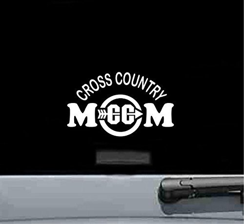 Cross Country Mom Vinyl Decal Sticker (WHITE) ()