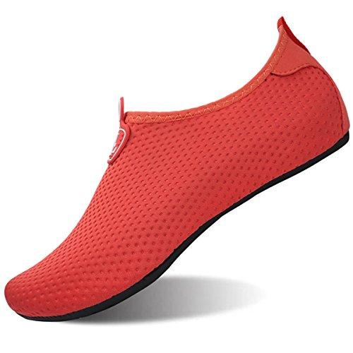 L-RUN Womens Mens Swim Shoes Adults Water Sports Shoes Outdoor Sneaker Red XL(W:10.5-11,M:8-9)=EU41-42