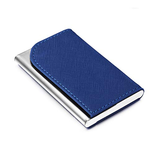 Business Card Holder Luxury PU Leather Case Matte Finish Stainless Steel Prevent Fingerprints Wallet for Women and Men SULIRUN1981, Navy ()