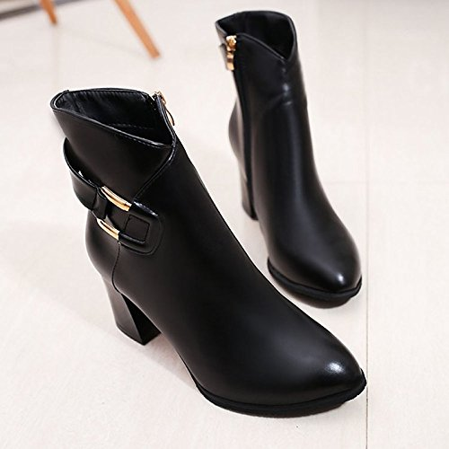 Null Toe PU Comfort Red Winter Boots Fall Black Women's Casual Pointed Heel Calf Boots for Chunky Mid Black HSXZ Shoes ZHZNVX BwnY87Ut