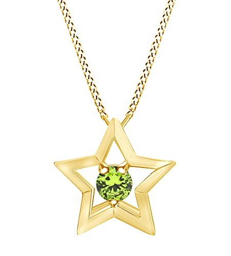 (Wishrocks Simulated Peridot Star Pendant Necklace 14K Yellow Gold Over Sterling Silver)