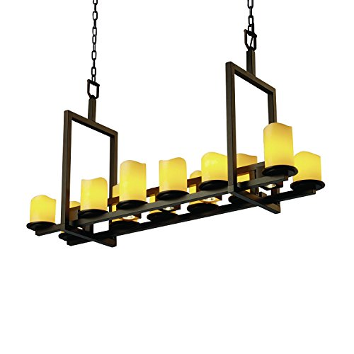 - Justice Design Group CandleAria 17-Light Chandelier - Dark Bronze Finish with Amber Faux Candle Resin Shade