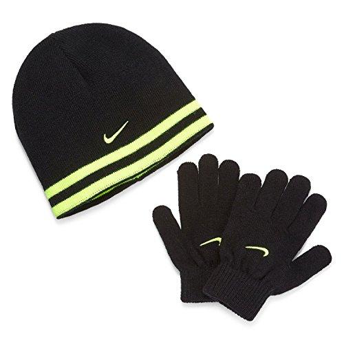 (Nike Swoosh Reversible Knit Hat & Gloves Set Black/Volt Sz 8/20)