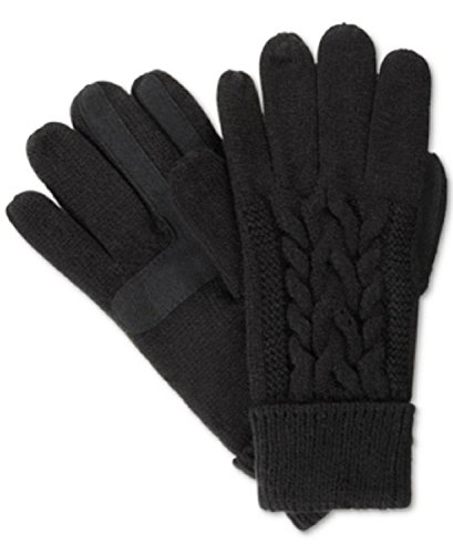 Glove Signature Womens (Isotoner Signature Solid Triple Cable Knit Palm SmarTouch Tech Gloves, One Size Black)