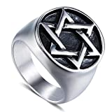 Dixinla Rings Steel , European and American Personality Men Retro Punk Stainless Steel six Star Ring Jewelry Gift for Family or Friends