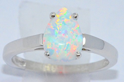 Opal Pear Ring (10x7mm Simulated Opal Pear Ring .925 Sterling Silver Rhodium Finish)