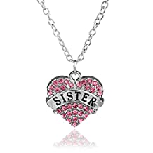 Mother's Day Gift for Mom Necklace Engraved Rhinestone Blue Crystal Pave Heart Pendant Necklace