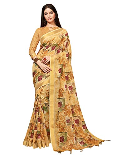 Sarees for Women Linen Silk Digital Print with Silk Boarder Saree l Indian Ethnic Wedding Gift Sari with Unstitched Blouse Beige