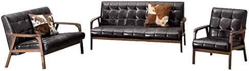 Baxton Studio Mid Century Masterpieces Living Room Set with Sofa , Love Seat , and Armchair in Dark Brown