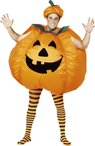 Smiffy's Men's Pumpkin Costume, Inflatable with Built in Fan, Bodysuit and Hat, Halloween, One Size, (Inflatable Body Costume)