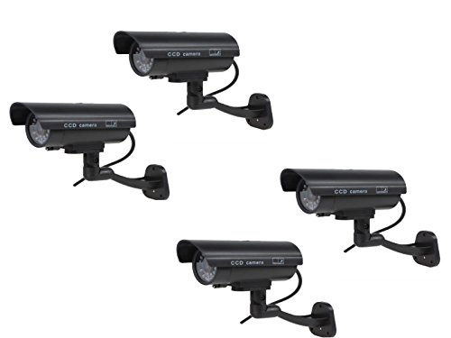 Kabalo 4 x Realistic Dummy CCTV Security Camera Flashing Red LED Indoor Outdoor Black