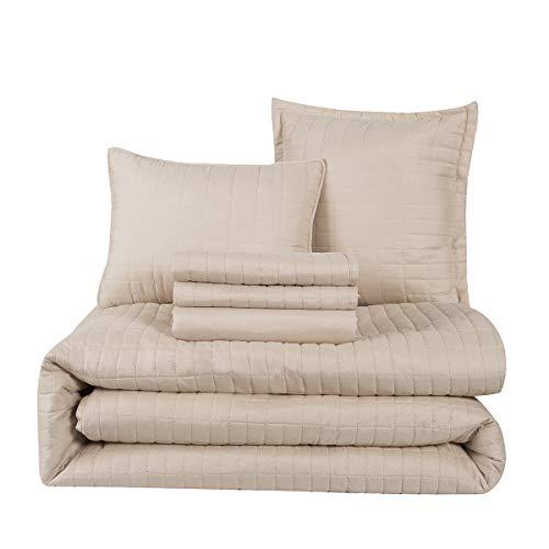 (HONEYMOON HOME FASHIONS Queen Comforter Set 6 Piece, 1 x Comforter, 1 x Bedskirt, 2 x Shams and 2 x Decorative Pillows, Oxford Tan)