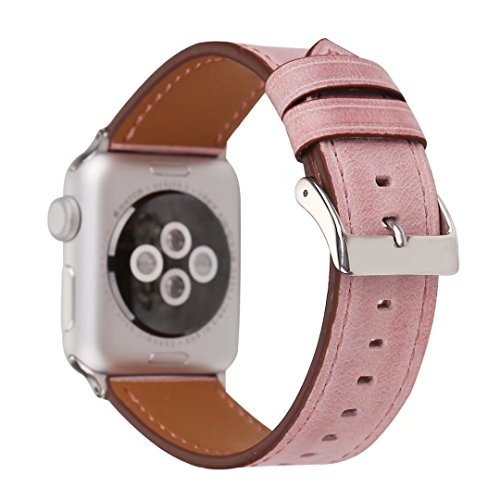 - Apple Watch Band 42mm, Pure Color Genuine Leather Replacement Strap Watchband for 42mm Apple Watch Series 3, Series 2, Series 1 - Lightpink
