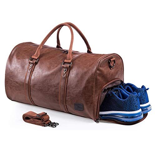 Leather Shoe Bag - Weekender Oversized Travel Duffel Bag with Shoe Pouch, Leather Carry On Bag-Brown
