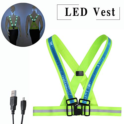 LED Reflective Vest Adjustable Rechargeable High Visibility Safety Vest Gear for Night Running, Dog Walking, Jogging, Cycling, Motorcycling - Blue (Vests Lights Safety)