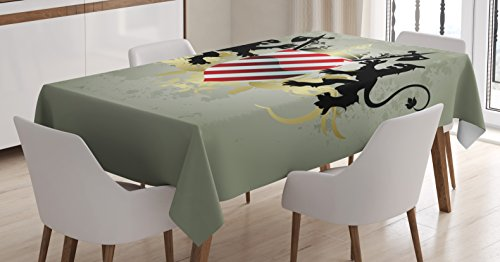 Heraldry Tablecloth by Ambesonne, Ornamental Medieval Empire Shield Icon with Lions and Axes Display, Dining Room Kitchen Rectangular Table Cover, 60W X 84L Inches, Sage Green Red Gold Black