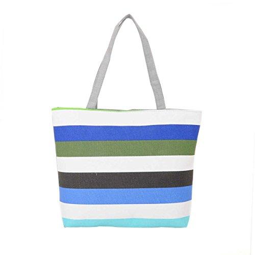 Women Casual Borse A Spalla Stripes Canvas Handbags,F-OneSize