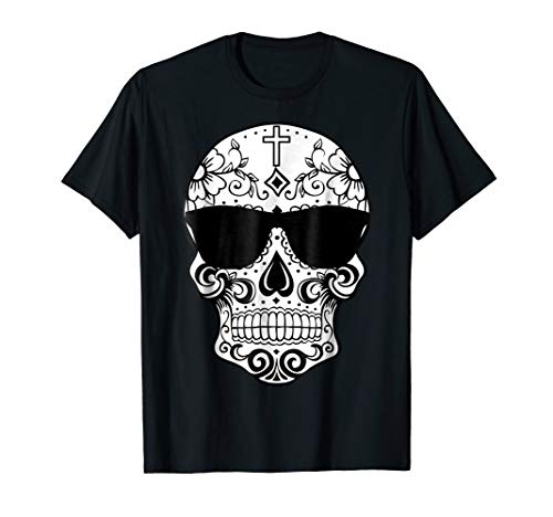 Mens Day Of The Dead Costume TShirts Sugar Skull Pink Sunglasses XL Black