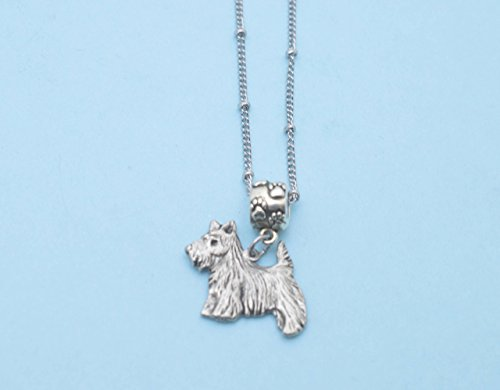Scottie dog in silver pewter Charm Necklace. Scottie necklace. Scottie charm. Scottie Jewelry. (Dog Charm Scottie)