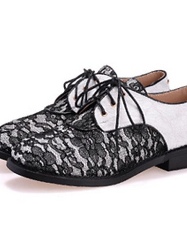 Semicuero uk4 Blanco white Redonda eu39 Tacón Casual white black mujer cn39 Zapatos Oxfords cn39 7 de uk6 5 us6 Punta ZQ Bajo eu37 us8 5 us8 eu39 Negro cn37 5 uk6 xPzqp6nT