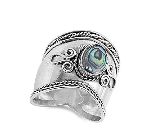 Simulated Abalone Wide Bali Ring New .925 Sterling Silver Rope Design Band Size 11 by Sac Silver (Image #2)