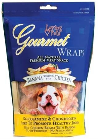 Banana Treats (Loving Pets All Natural Premium Banana and Chicken Wraps with Glucosamine and Chondroitin Dog Treats, 6)