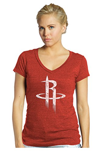NBA Houston Rockets Women's Premier Triblend Modest V-Neck Tee, XX-Large, Red