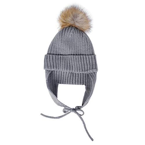 (Autumn Winter Pom Pom Hats Cute Knitted Warming Keeping Earflap Hat for Women Girls (Grey))