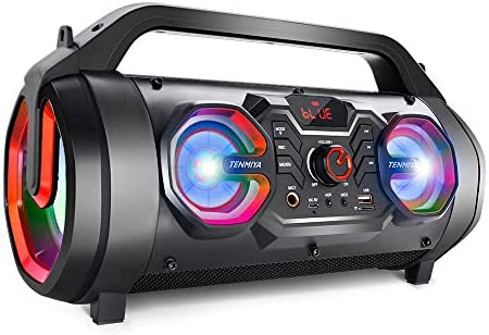 Bluetooth Speakers, 30W Portable Outdoor Boombox with Subwoofer, FM Radio, Colorful Lights, EQ, Stereo Sound, Booming Bass, 10H Playtime Wireless Speaker for Home, Party, Camping, Travel