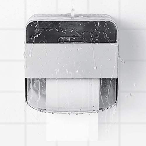 防水トイレットペーパーホルダー、引き出し式トイレットロールホルダー付きポータブル防水ダブルレイヤーティッシュボックスホーム防水収納ラック