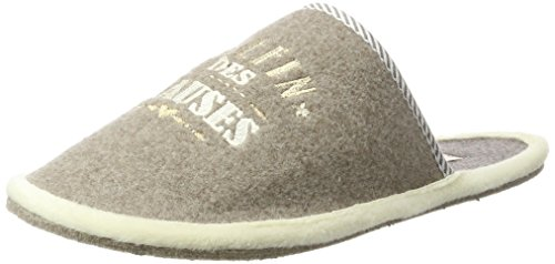 Donna Ciabatte taupe Filzpantoffel Hauses Des 366 Chefin Beige Adelheid wxSqX6f
