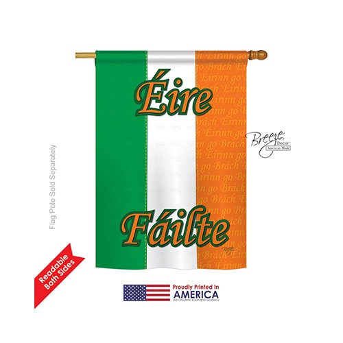 Breeze Decor H108072 Ireland World Nationality Vertical House Flag, 28″ x 40″, Multi-Color Review