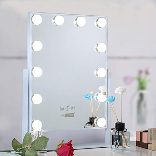 VIVOHOME Hollywood Lighted Makeup Mirror with 3 Different Lighting Modes, Touch Controlled Vanity Mirror with 12 x 3W Dimmable LED Bulbs, White