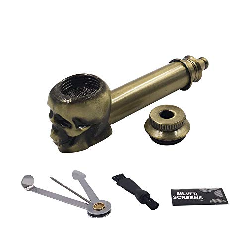 Metal Skull Design Fashion Pipe with Detectors Light (Brass)