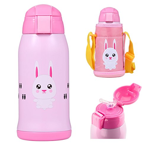 OBB Stainless Steel Insulated Sippy Cup for Kids with Carrying Pouch (Lola the Bunny)