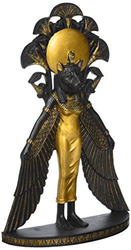 Design Toscano Sekhmet The Egyptian Warrior Lion Goddess Statue and Wall Sculpture, 11 Inch, Black and Gold