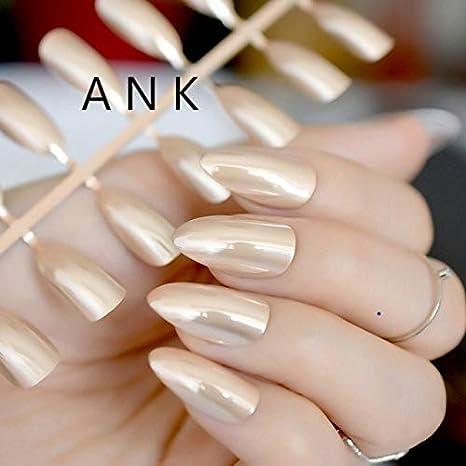 24 uñas Stiletto de color dorado claro, tamaño mediano, punta de almendra, acabado