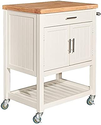 Powell Furniture D1008A15W Conrad Kitchen Cart Table, White