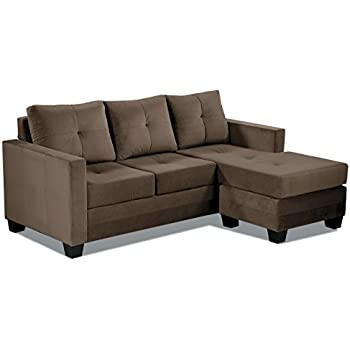 Sectional sofa for small spaces chaise sofa for Brown microfiber chaise lounge