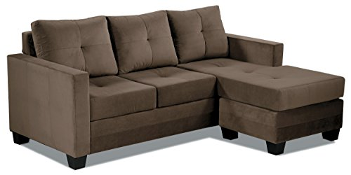 "Homelegance Phelps 78"" x 58"" Microfiber Reversible Chaise Sofa, Brown"
