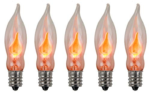 (Creative Hobbies A101 Flicker Flame Light Bulb -3 Watt, 130 Volt, E12 Candelabra Base, Flame Shaped, Nickel Plated Base,- Dances with a Flickering Orange Glow - Box of 5 Bulbs)