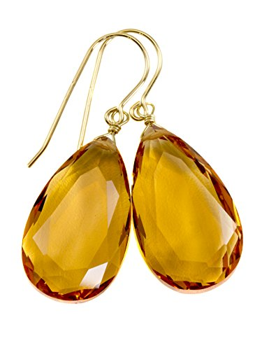 14k Yellow Gold Filled Yellow Simulated Citrine Earrings Faceted Large Pear Teardrops Simple Briolette Dangle -