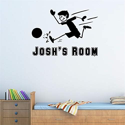 Wisoua Quotes Wall Stickers Removable Vinyl Art Decal Custom Name Soccer Football Personalized Name Happy Boy Boy's Room Boy Room Decor