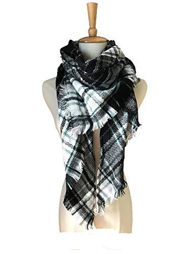 Wander Agio Women's Fashion Scaves Shawl Grid Winter Warm Plaid Scarf Fichu New Black White 26