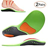 Shoe Insoles, MIBOTE 2 Pairs Arch Support Orthotic Shoes Insert Insoles Sports Gel Plantar Professional Fasciitis Insoles for Men/Women - Relieve Foot Pain (Green,M)