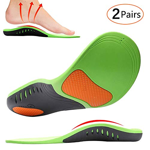 Insoles Arch - Shoe Insoles, MIBOTE 2 Pairs Arch Support Orthotic Shoes Insert Insoles Sports Gel Plantar Professional Fasciitis Insoles for Men/Women - Relieve Foot Pain (Green,M)